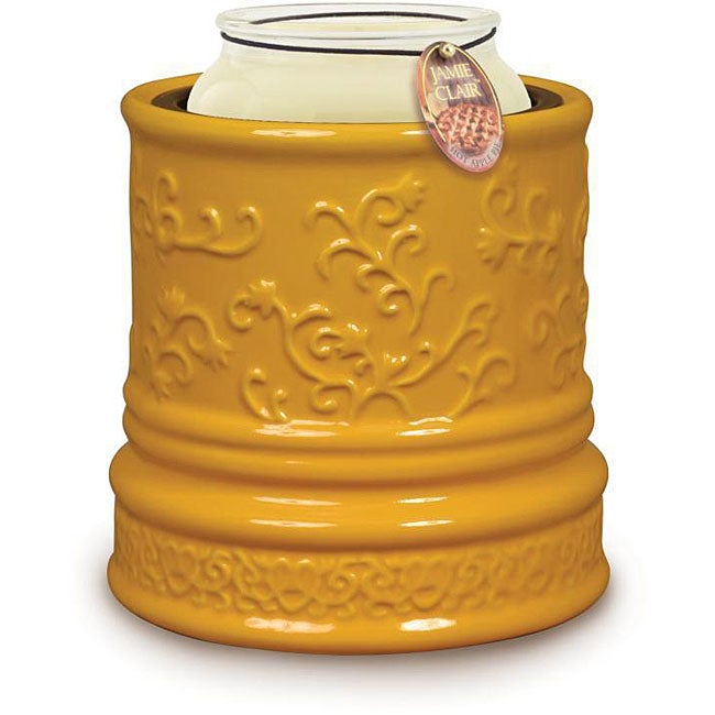 Candle Warmer Crock - Yellow Daisy Embossed