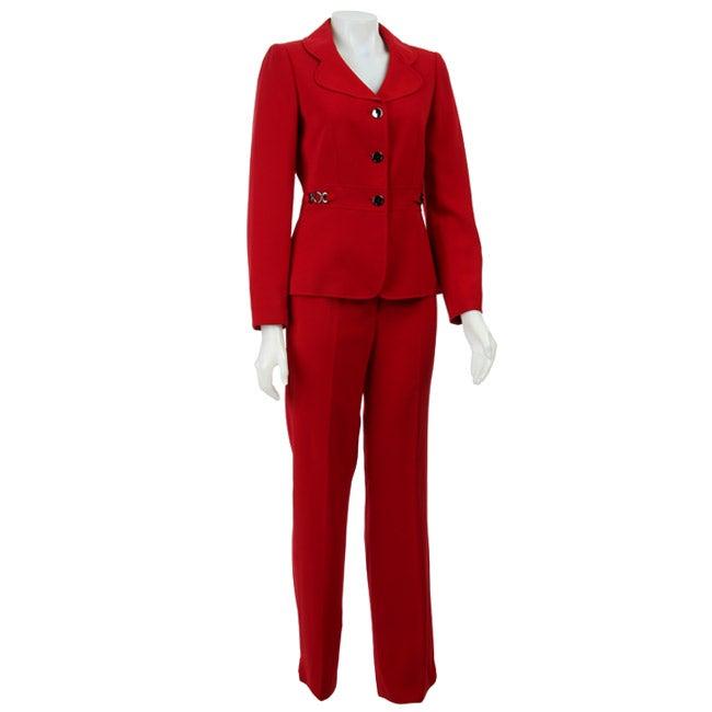 Tahari Asl Women S Bellagio Red Oasis Pant Suit Free