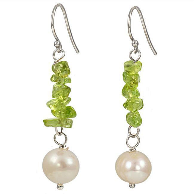 Maddy Emerson Couture Pearl and Peridot Earrings (7-7.5 mm)