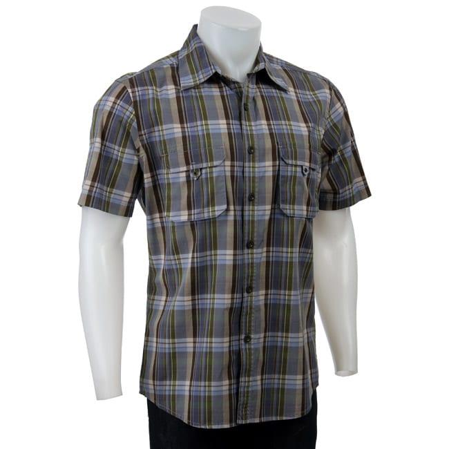 FINAL SALE Claiborne by John Bartlett Men's Plaid Short-sleeve Shirt