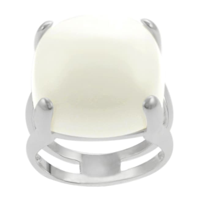 Journee Collection Sterling Silver Synthetic White Onyx Cocktail Ring