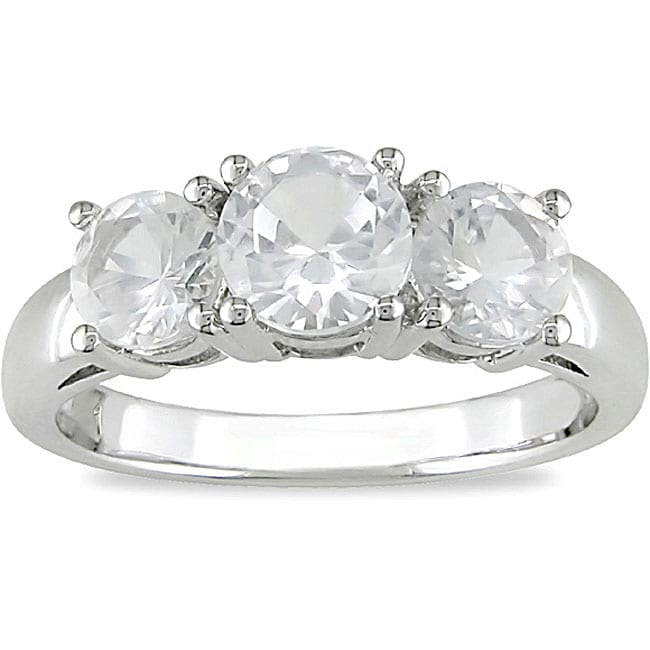 10k White Gold Created White Sapphire 3-stone Ring
