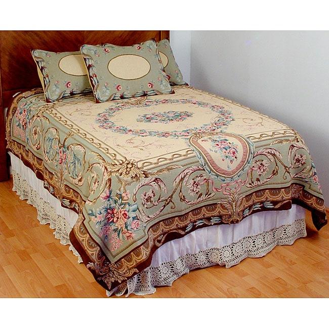 Elizabeth Sage King Size Tapestry Coverlet