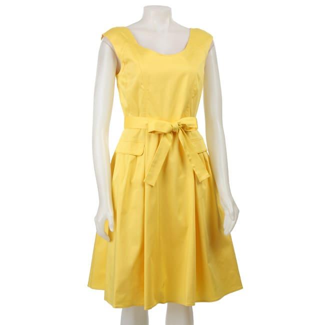 Calvin Klein Womens Yellow Belted Sleeveless Dress