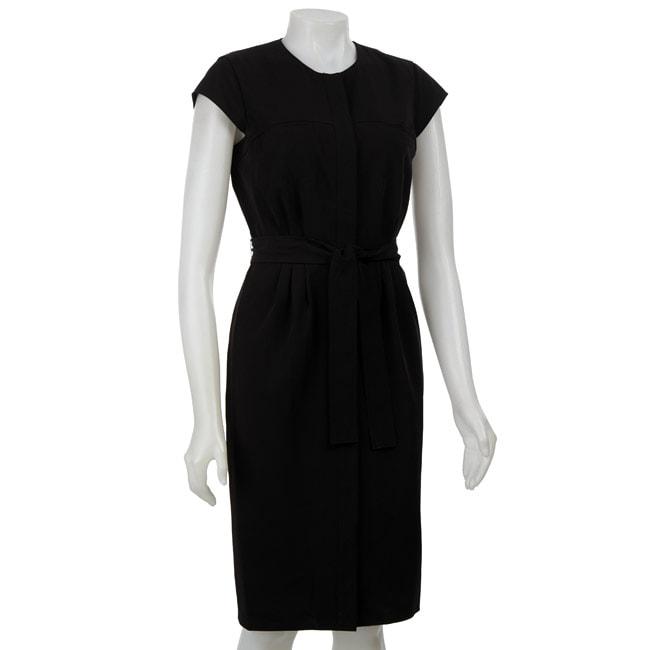 Shop Calvin Klein Womens Black Snap Front Cap Sleeve Dress Free