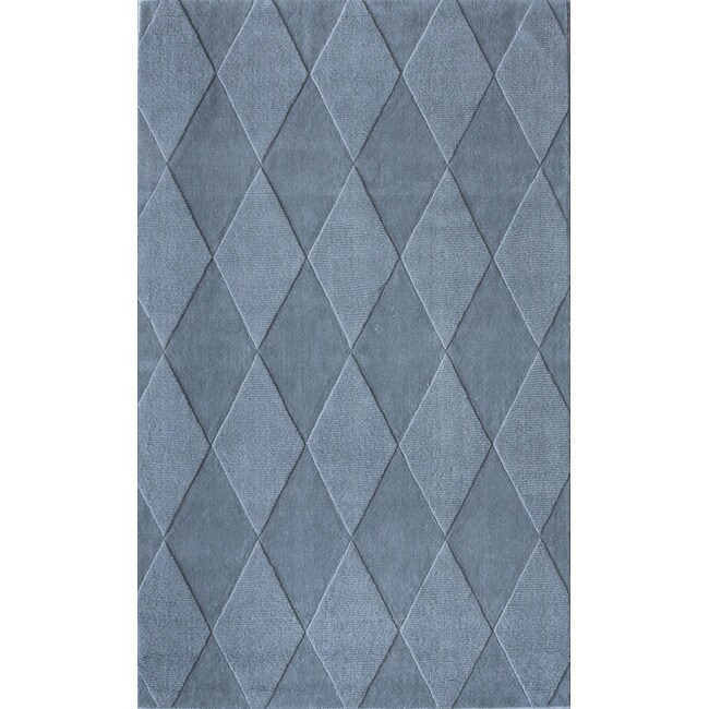 nuLOOM Handmade Neutrals and Textures Diamonds Slate Wool Rug - 5' x 8'