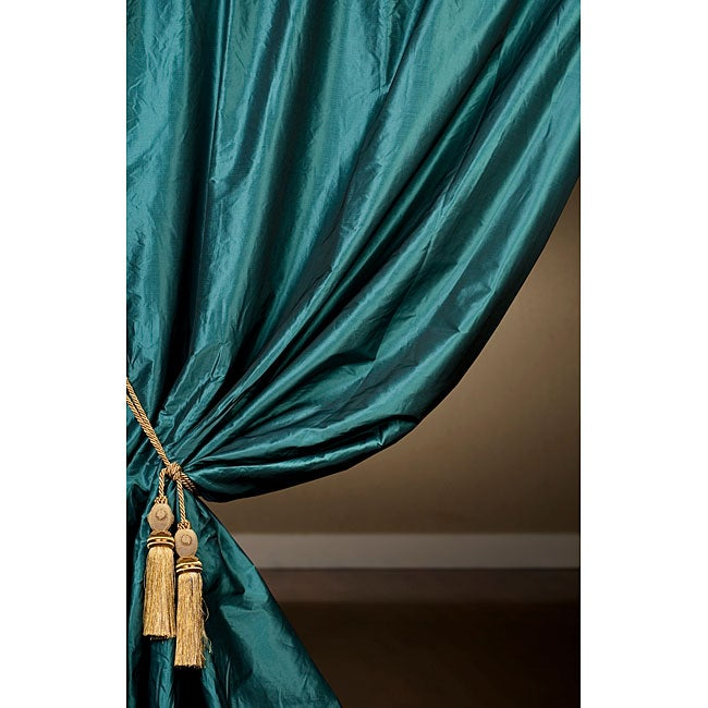 Exclusive Fabrics Signature Teal Faux Silk Taffeta 120-inch Curtain Panel