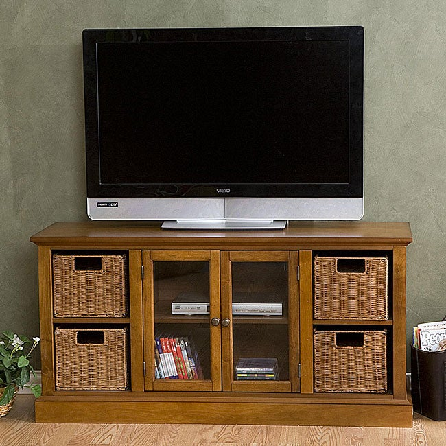 Entertainment Center With Storage Baskets