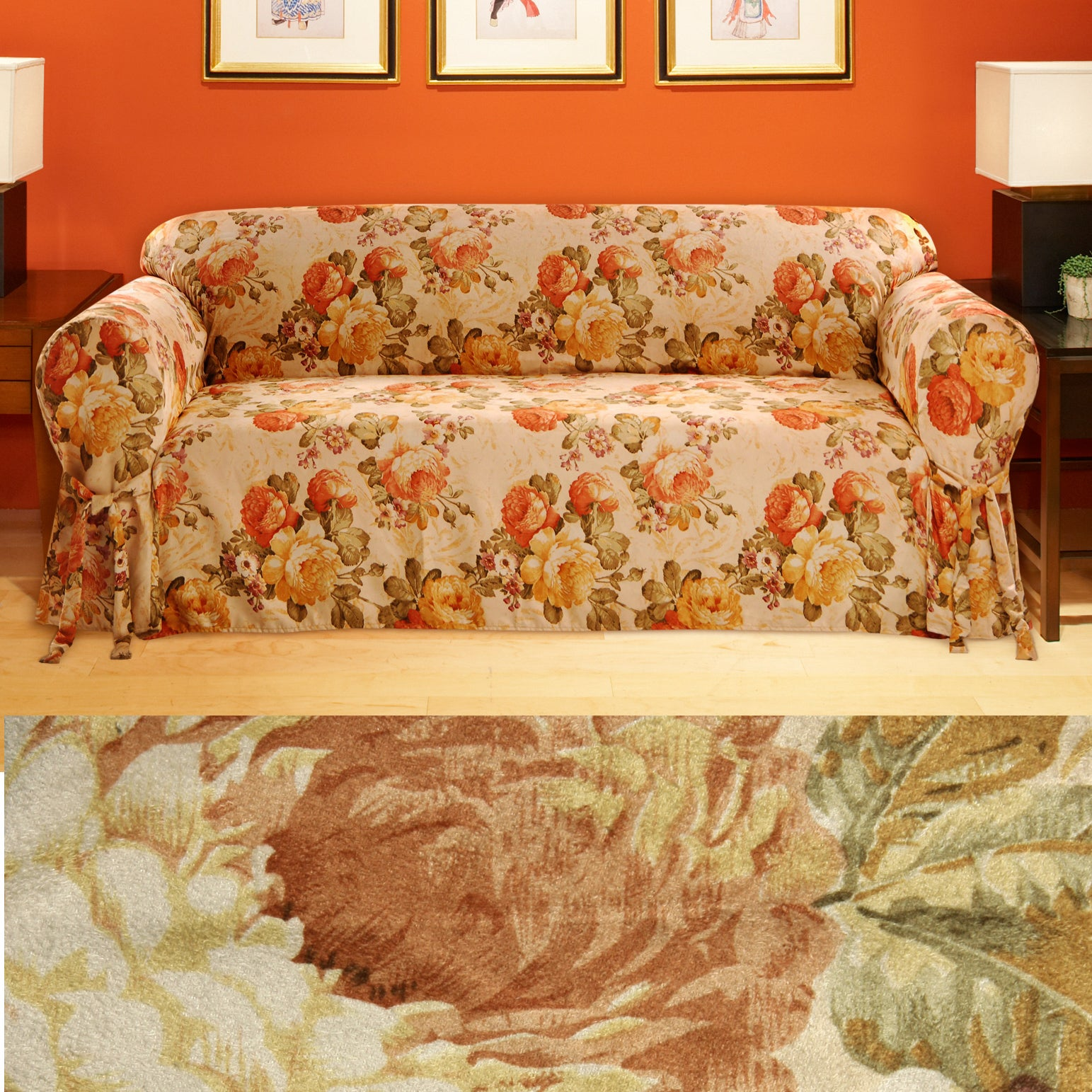 Garden Floral Faux Suede Sofa Slipcover Free Shipping Today