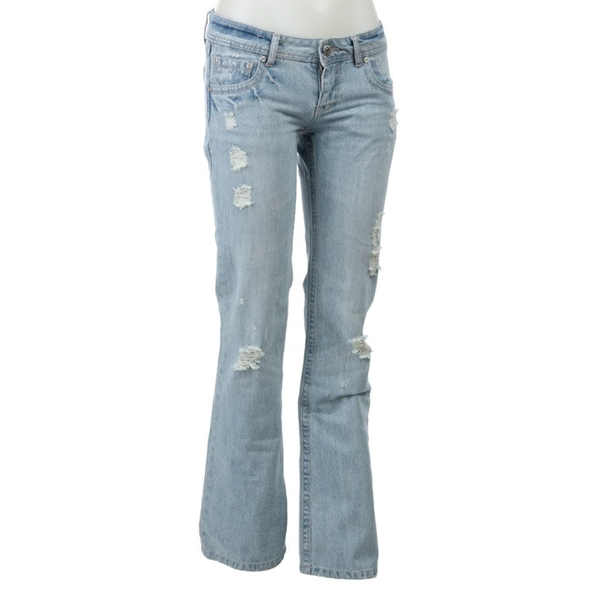 9aa1f75fd Shop Celebrity Pink Junior's Distressed Denim Flared Jeans - Free Shipping  On Orders Over $45 - Overstock - 4037617