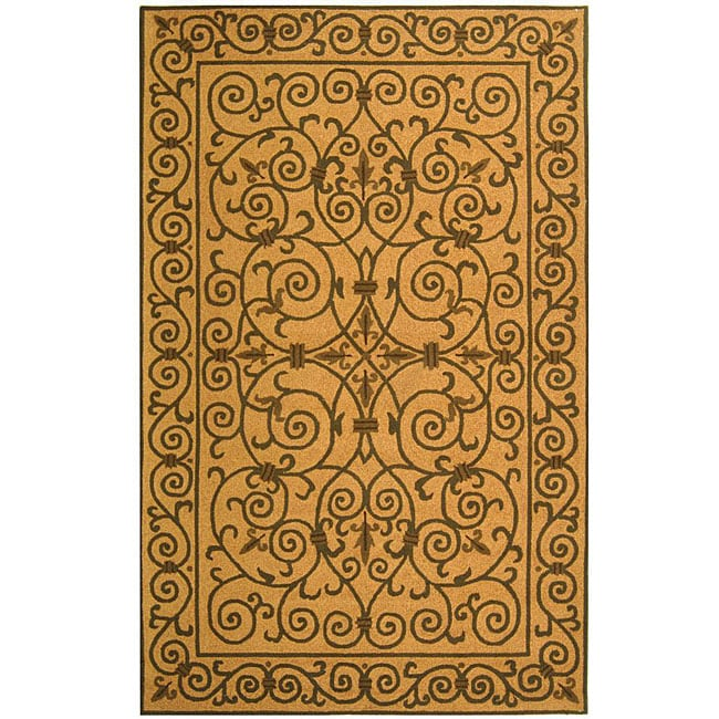 Safavieh Hand-hooked Iron Gate Yellow/ Light Green Wool Rug - 7'9 x 9'9