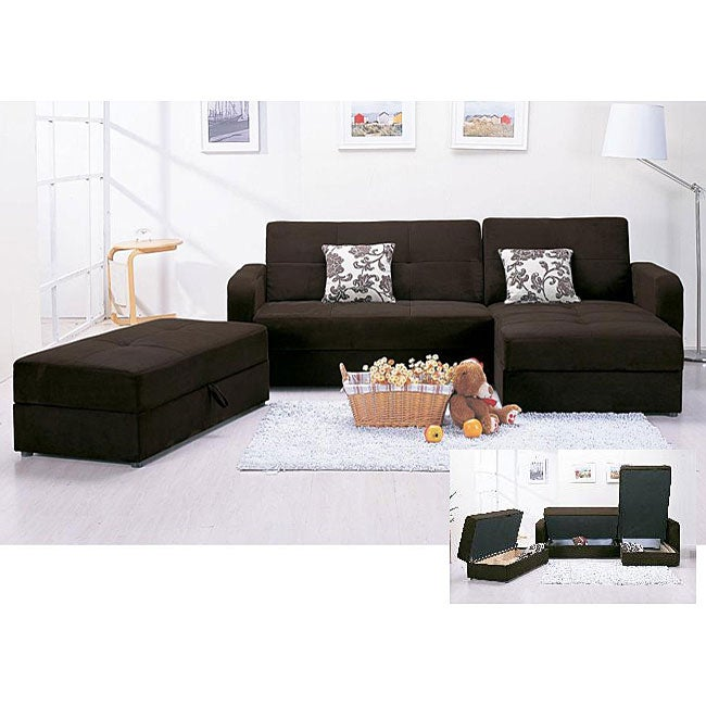 Marvelous Microfiber 3 Piece Chocolate Sectional Sofa And Ottoman Set Caraccident5 Cool Chair Designs And Ideas Caraccident5Info