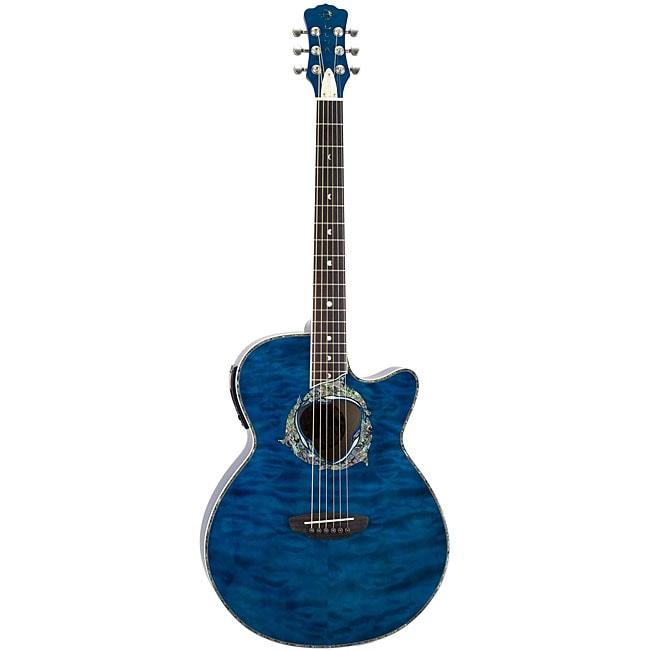 Luna 'Fauna Dolphin' Tranz Blue/ Quilted Maple Guitar