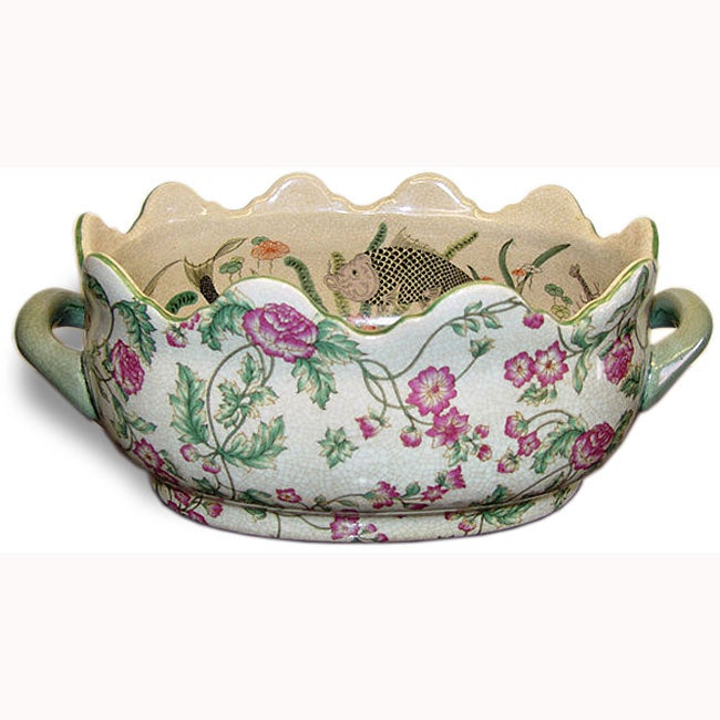 "Azelea Crown Porcelain Footbath Planter #195B-211R-WC 16""..."