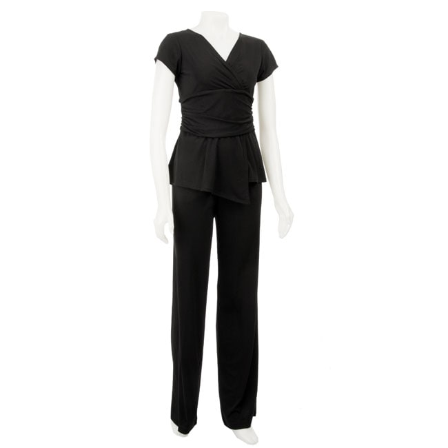 Glamour Women's Black 2-piece Pants Set - Thumbnail 0