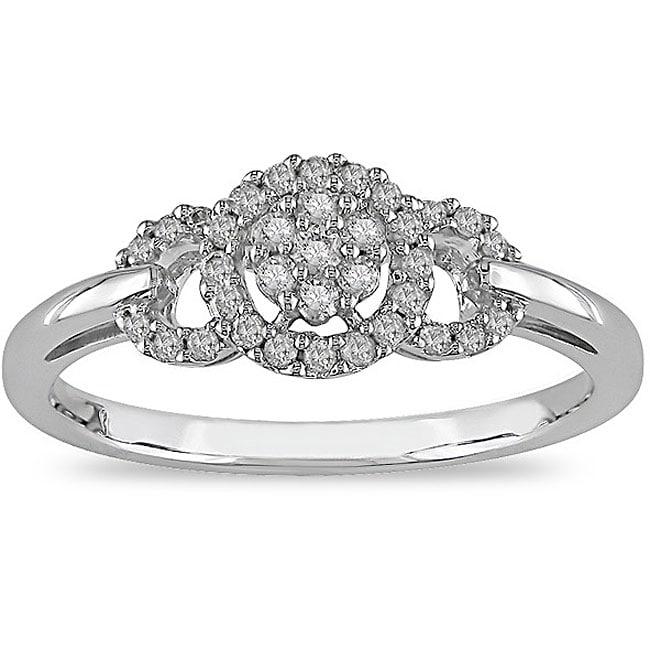 Miadora 10k White Gold 1/5ct TDW Diamond Halo Ring