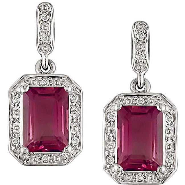 10k White Gold Created Ruby Diamond Earrings