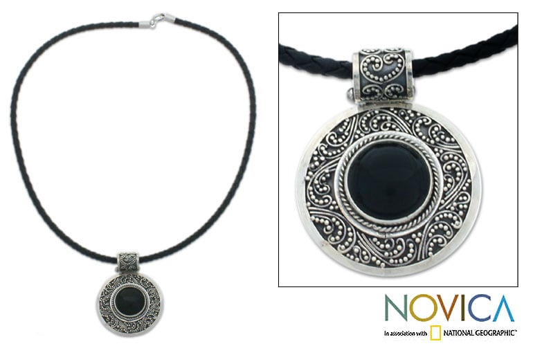 Handmade Sterling Silver 'Midnight Beauty' Onyx Necklace (Indonesia)