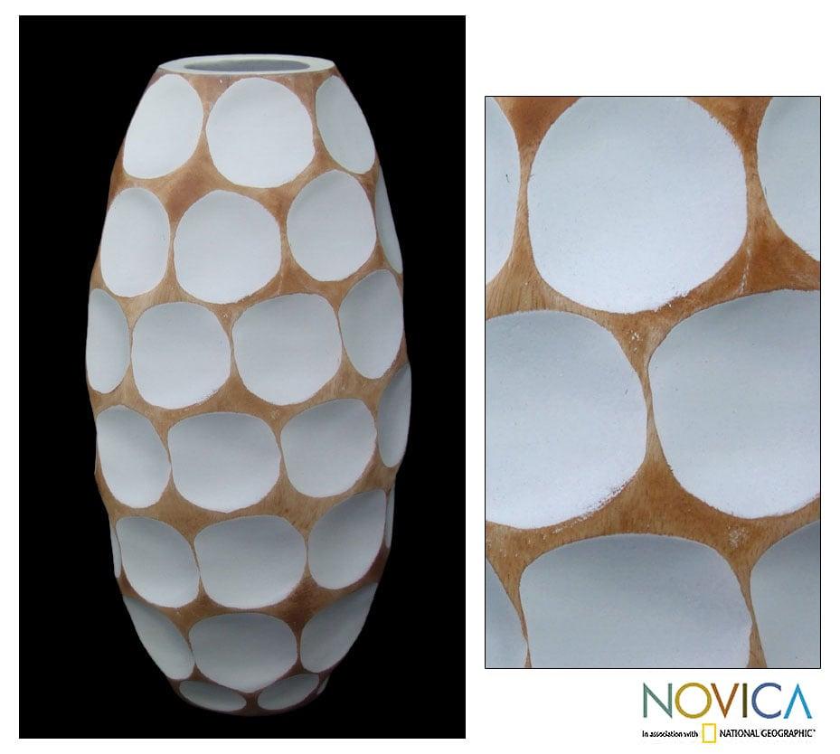 Wood 'Polka Dot White' Vase (Thailand)