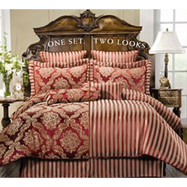 Clara Red 8-piece Reversible Comforter Set