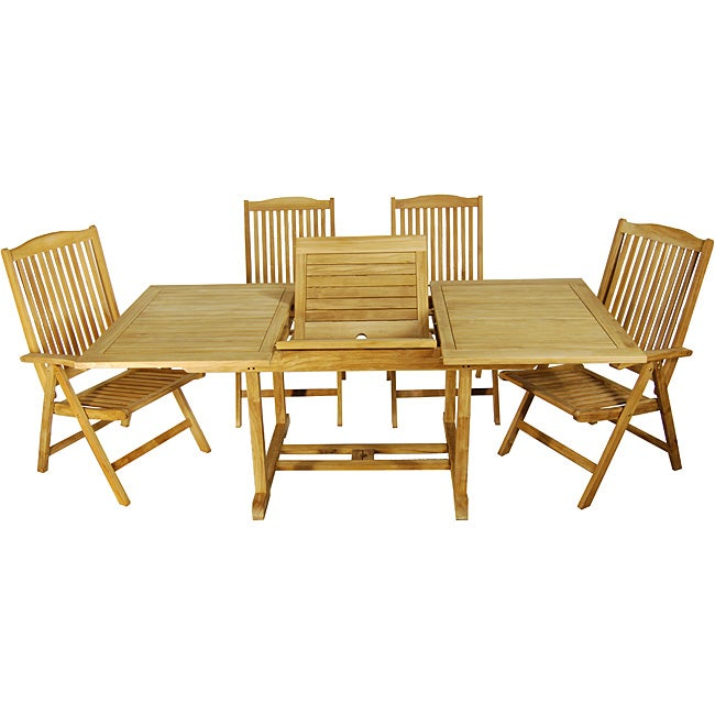 we furniture 7 piece acacia wood dining set with cushions collections