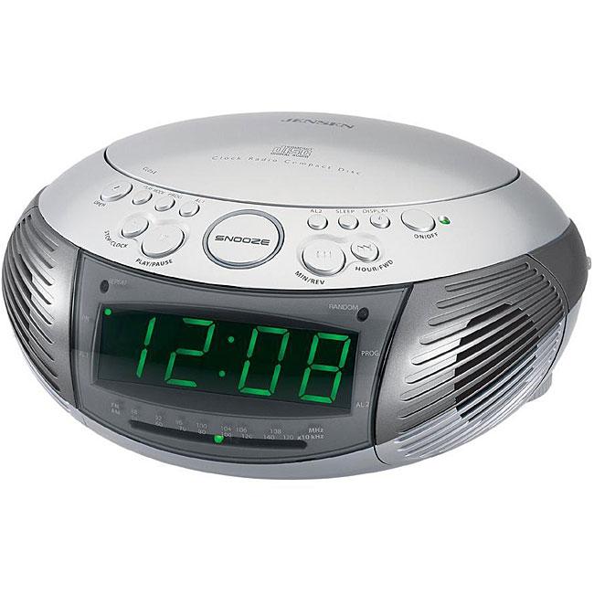 Jensen JCR-332 AM/FM Dual Alarm Clock Radio with Top-loading CD Player