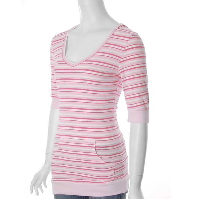 Everyday Brand Junior's Front Pouch Pocket Striped T-shirt