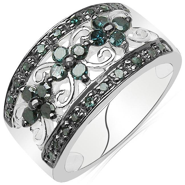Sterling Silver 1/2ct TDW Genuine Blue Diamond Ring