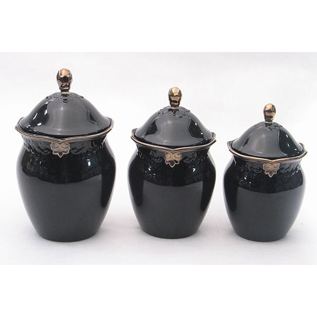 black kitchen canister sets certified international regency black 3 canister set 16427
