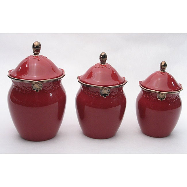 certified international regency burgundy 3 piece cannister vintage burgundy stonewarekitchen canister jar by