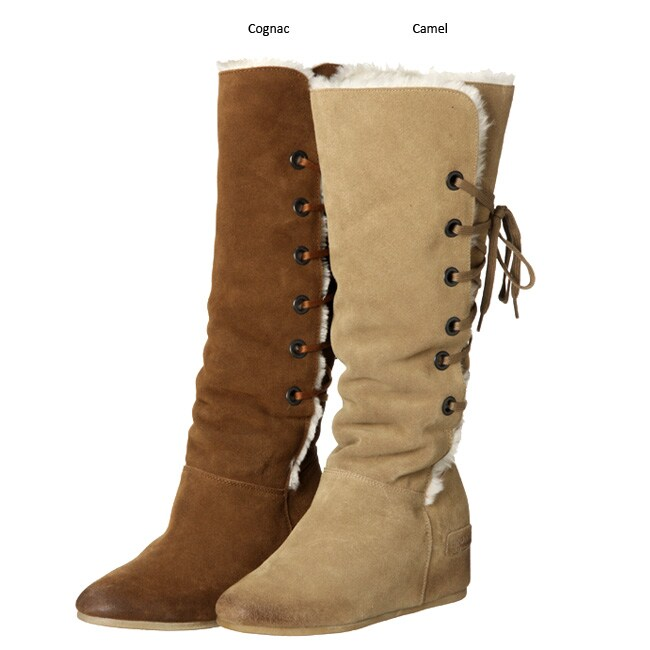 bronx s asha wedge suede tie boots free shipping