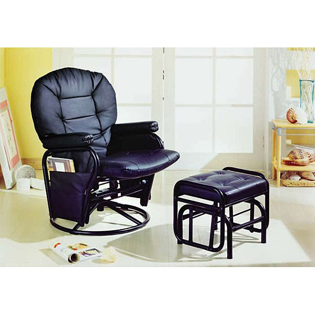 Deluxe Swivel Glider Recliner with Ottoman Black