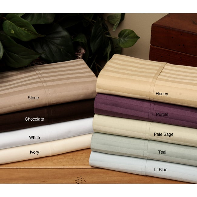Majestic 400 Thread Count Woven Stripe 6-piece Cotton Sheet Set