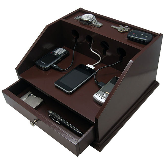 charging station organizer deluxe charging brown station valet 12081075 overstock 29409