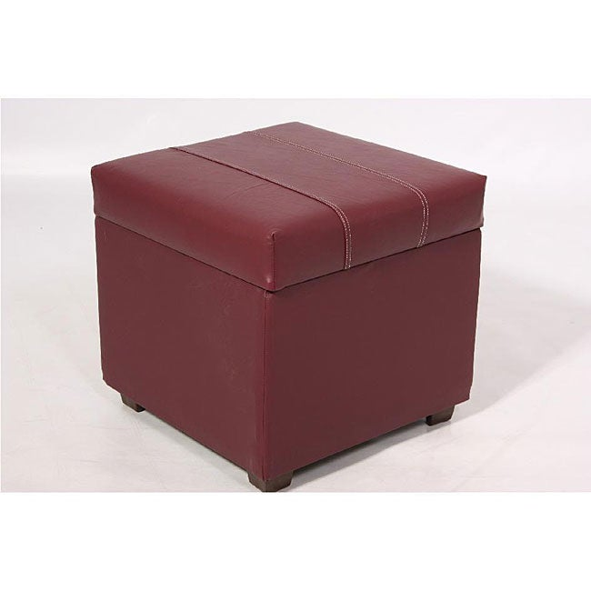 Burgundy Faux Leather Storage Ottoman - Burgundy Faux Leather Storage Ottoman - Free Shipping Today