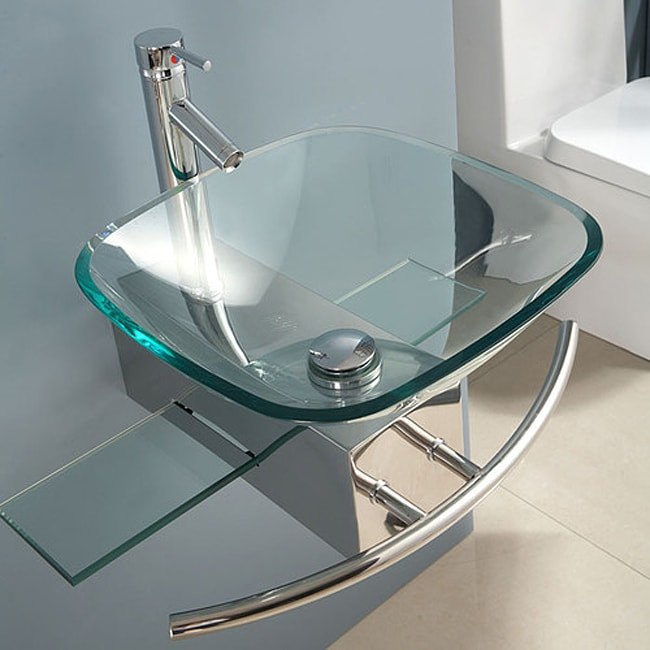 Contemporary Wall-mount Glass Waterfall Sink