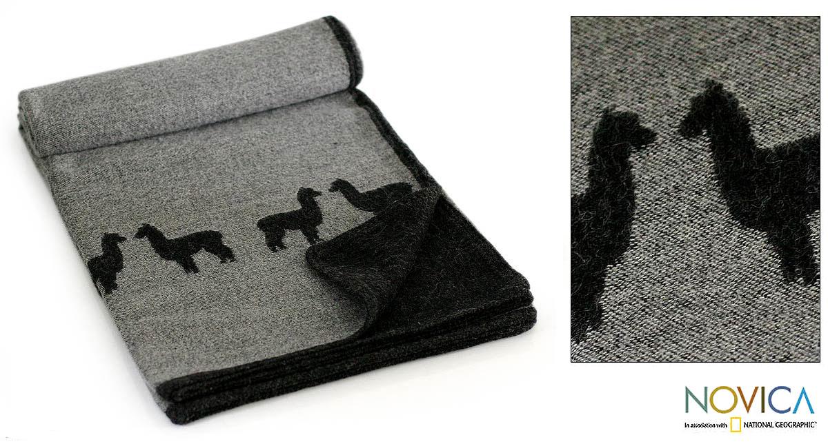 'Alpaca Eclipse' Alpaca Wool Throw Blanket (Peru)