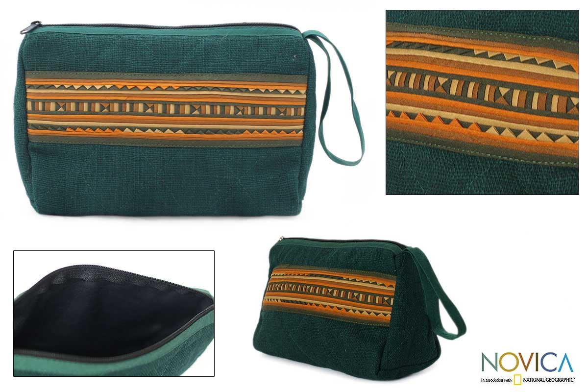Cotton 'Lisu Turquoise' Handbag (Thailand)
