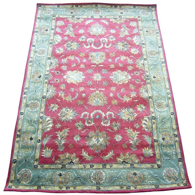 Indo Red/ Green Wool Rug (2'1 x 3'1)