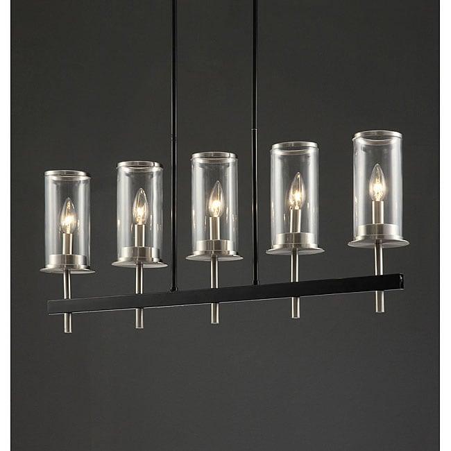 Glass/ Metal 34-inch 5-light Chandelier