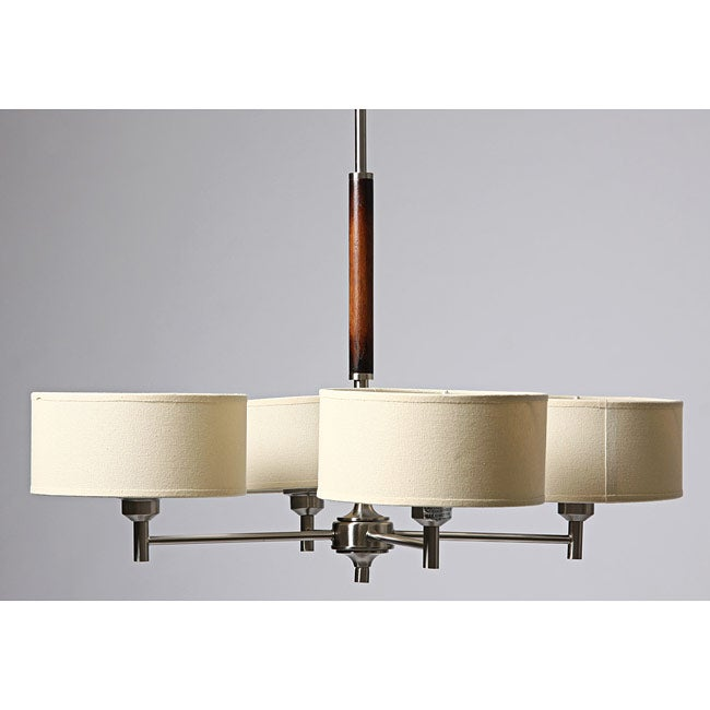 Chrome-plated Wood Accent 4-shade Chandelier
