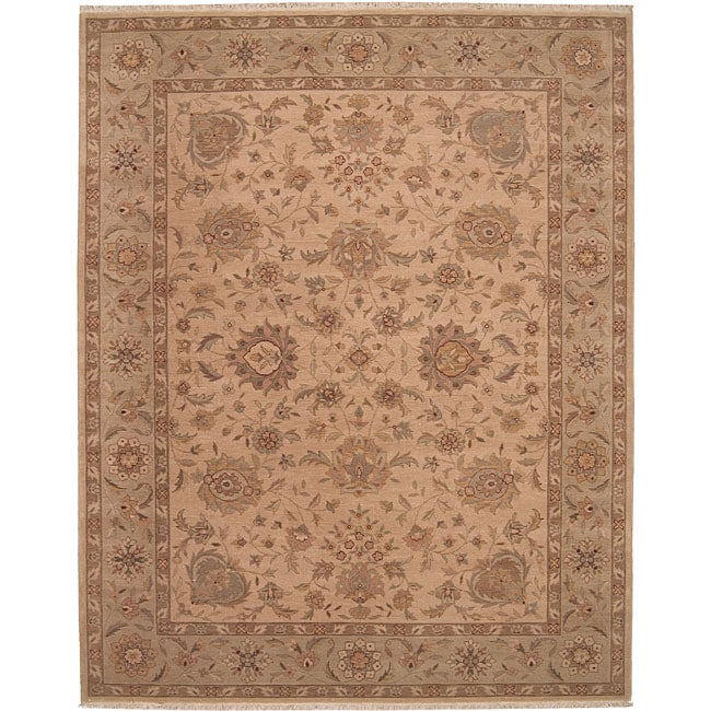 Nourison Hand-knotted Ancestry Beige Wool Rug (7'9 x 9'9)