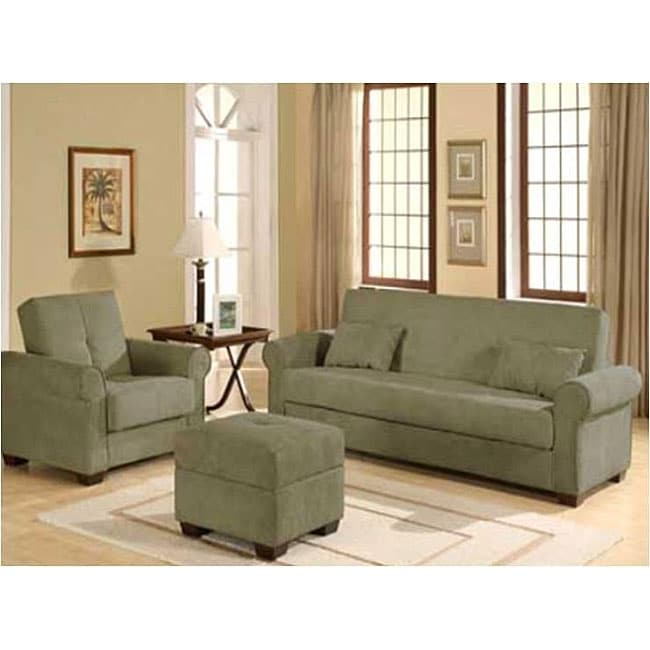 Rosemead 3 Piece Olive Sofa Bed/ Chair/ Ottoman Set