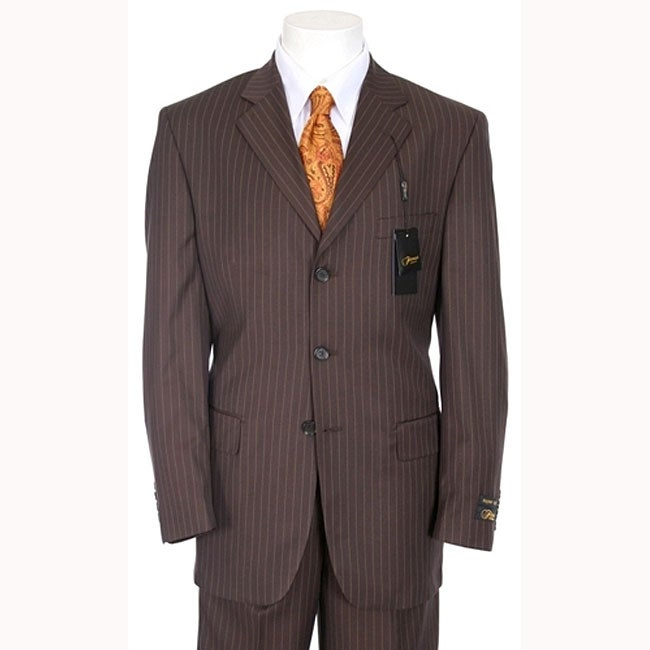 46d48b5bc0ec Shop Ferrecci Men's Chocolate Brown Pinstripe Suit - Free Shipping Today -  Overstock - 4079263