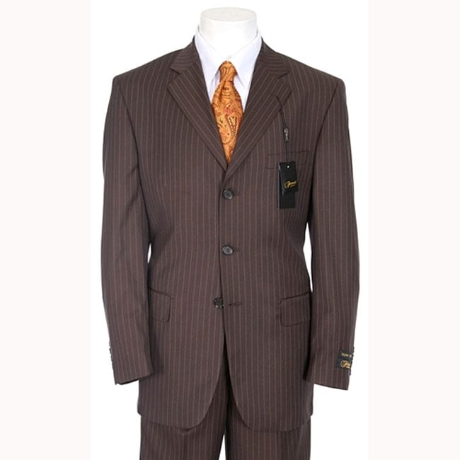 Ferrecci Men's Chocolate Brown Pinstripe Suit - Free Shipping