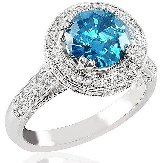 14k White Gold 2 1/2ct TDW Blue Diamond Halo Ring