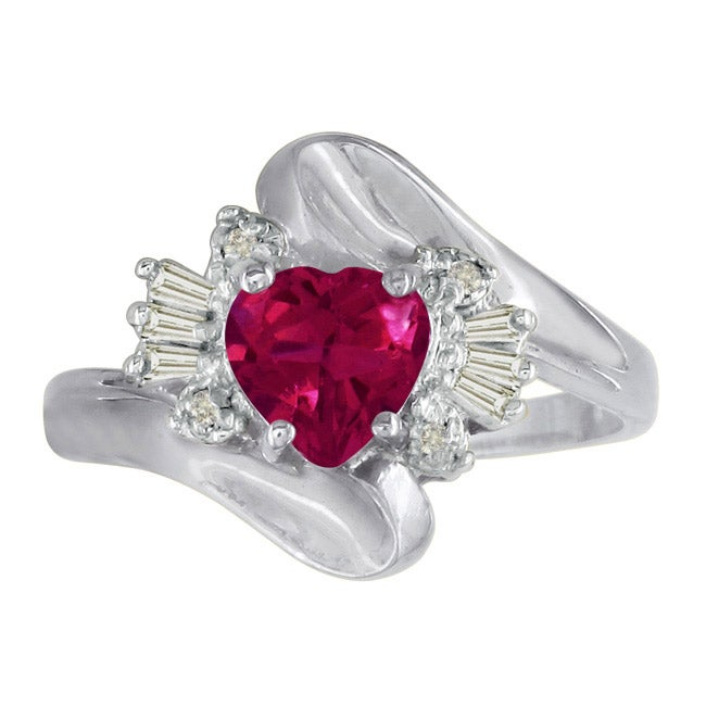 10k White Gold Created Ruby and Diamond Heart Ring
