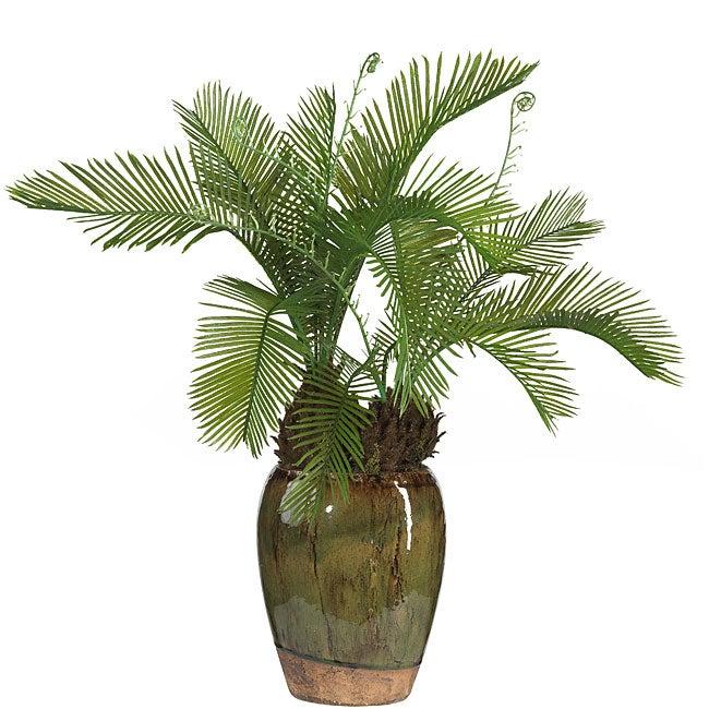 Cycas Silk Plant with Glazed Vase