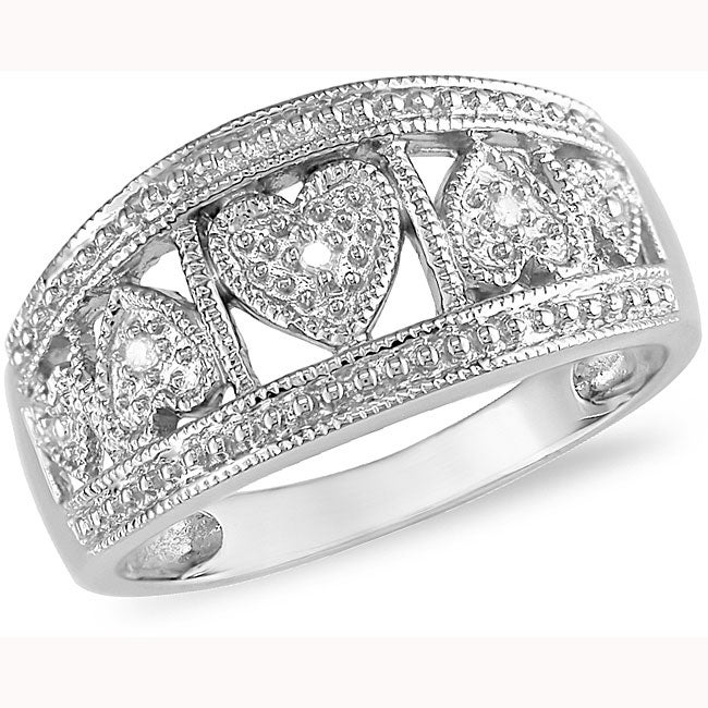Miadora 10k White Gold Diamond Hearts Ring
