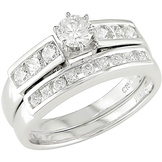 Miadora 14k White Gold 1ct TDW Diamond Bridal Set (H-J, I1)